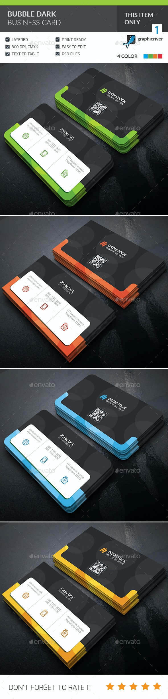 Bubble Dark Business Card  - Corporate Business Cards