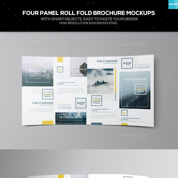 Four Panel Roll Fold Brochure Mockups