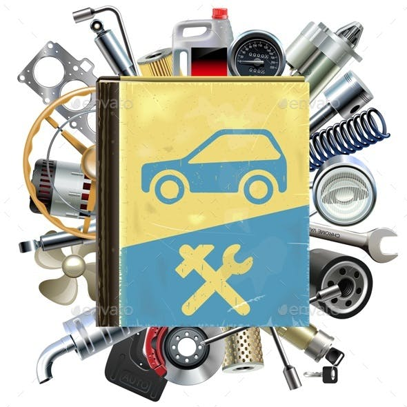 Vector Old Car Repair Book with Car Spares