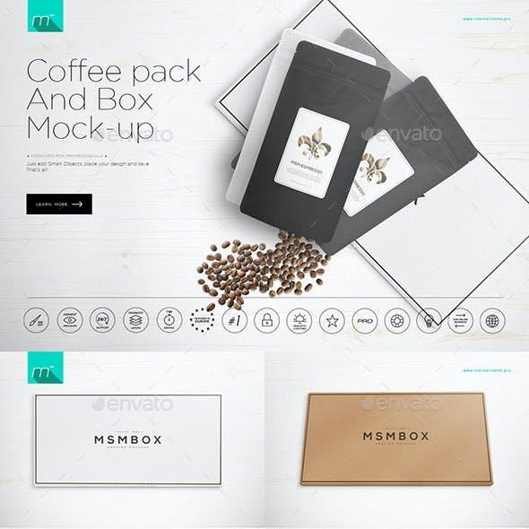 Coffee Pack & Box Mock-up