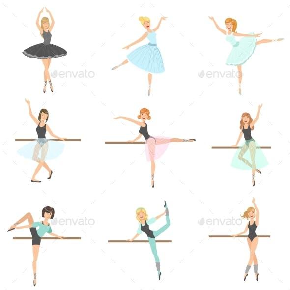 Ballerinas Training In Dance Class Set