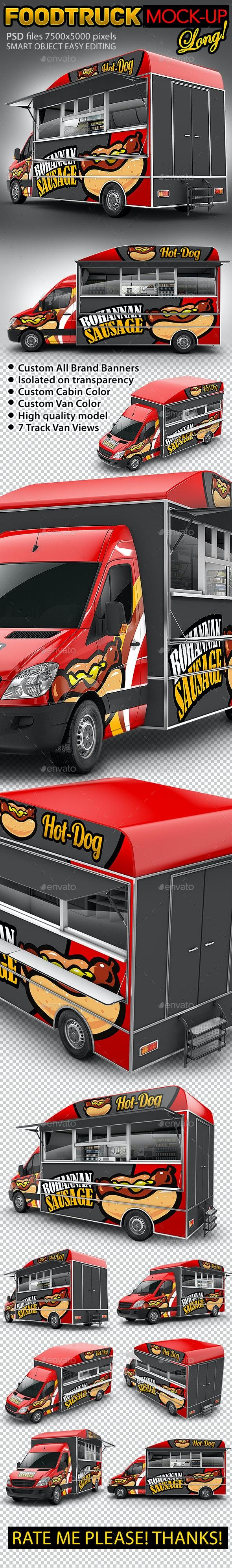 Food Truck Hod-Dog Mock-Up. Van eatery mockup - Vehicle Wraps Print