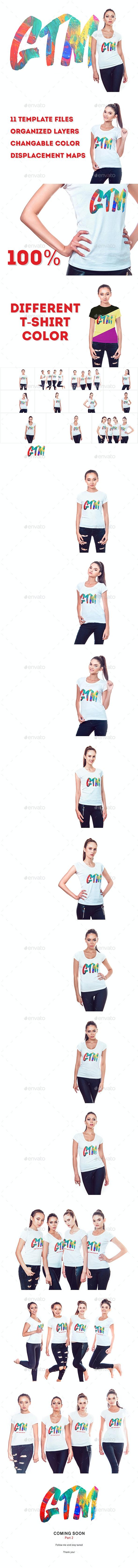 Women's T-Shirts Mock-Up - T-shirts Apparel