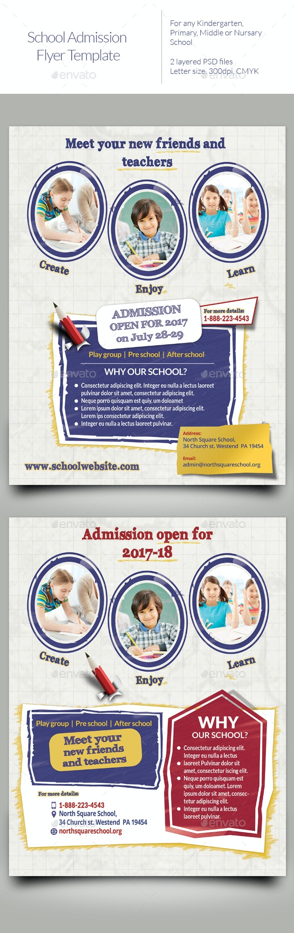 School admission Flyer Templates - Events Flyers