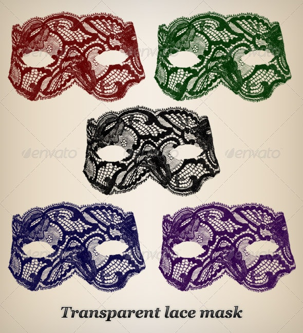 Lace mask (5 colors) - Clothes & Accessories Isolated Objects