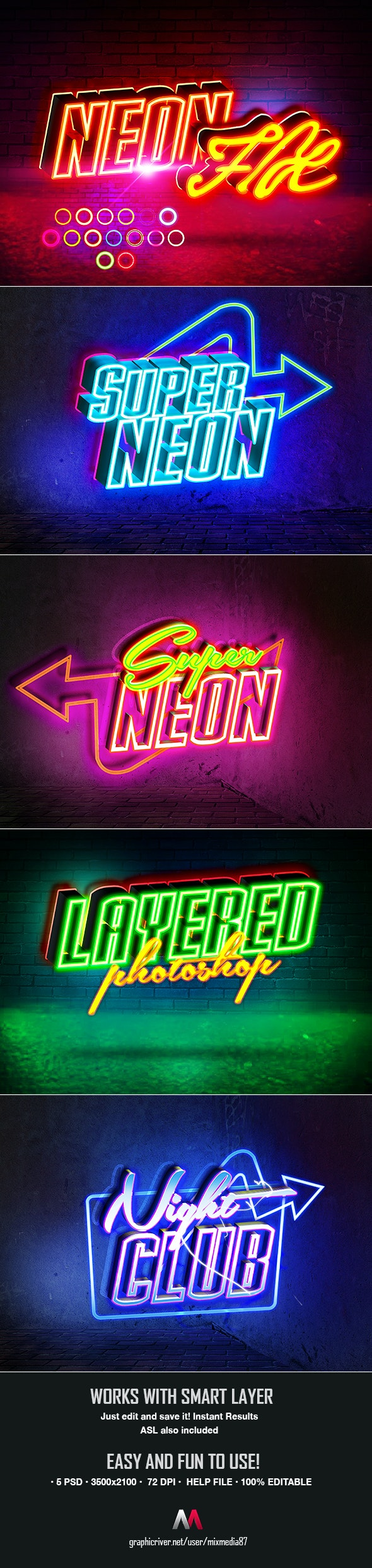 Neon Sign Styles V4 - Text Effects Actions