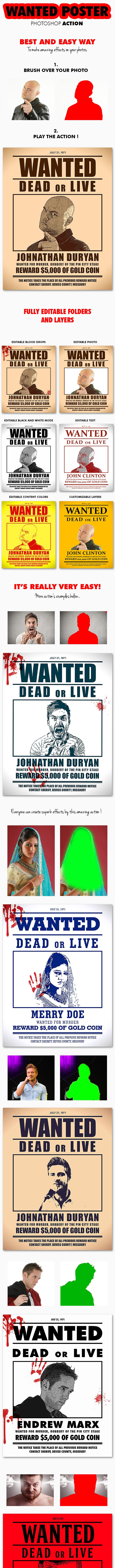 Wanted Poster Photoshop Action ( 8.5x11 Inch ) - Photo Effects Actions