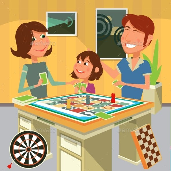 Family Playing a Board Game Vector Illustration