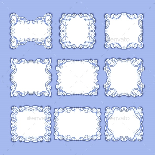 Set of Frames with Decorative Graphic Elements - Borders Decorative