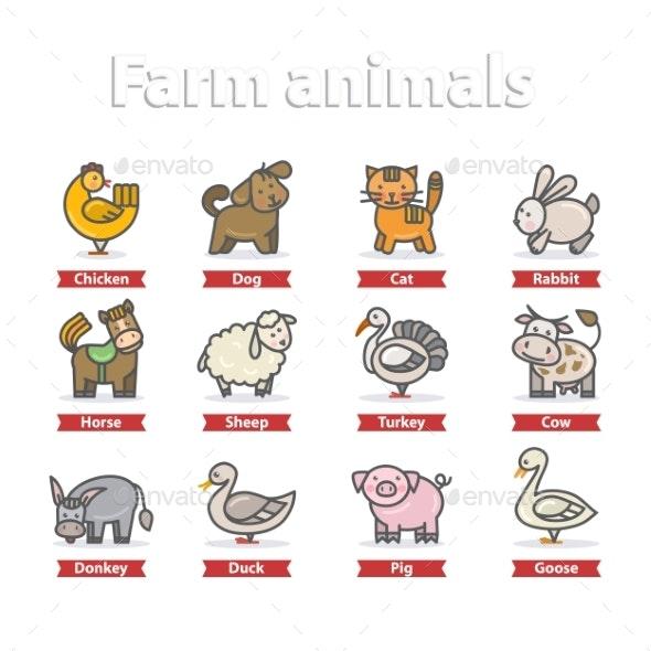 Farm Animal Icon Set - Animals Characters