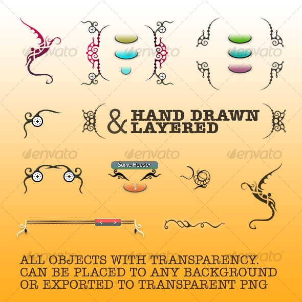 Hand Drawn Design Elements B - Decorative Graphics