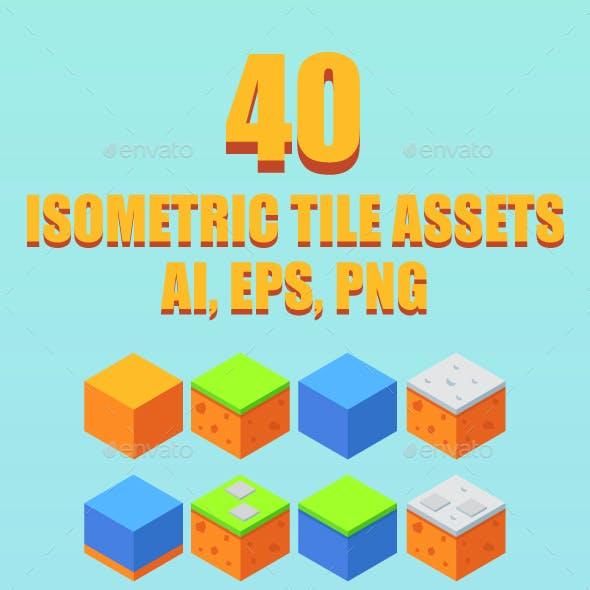 Game Asset : 40 Isometric Tiles