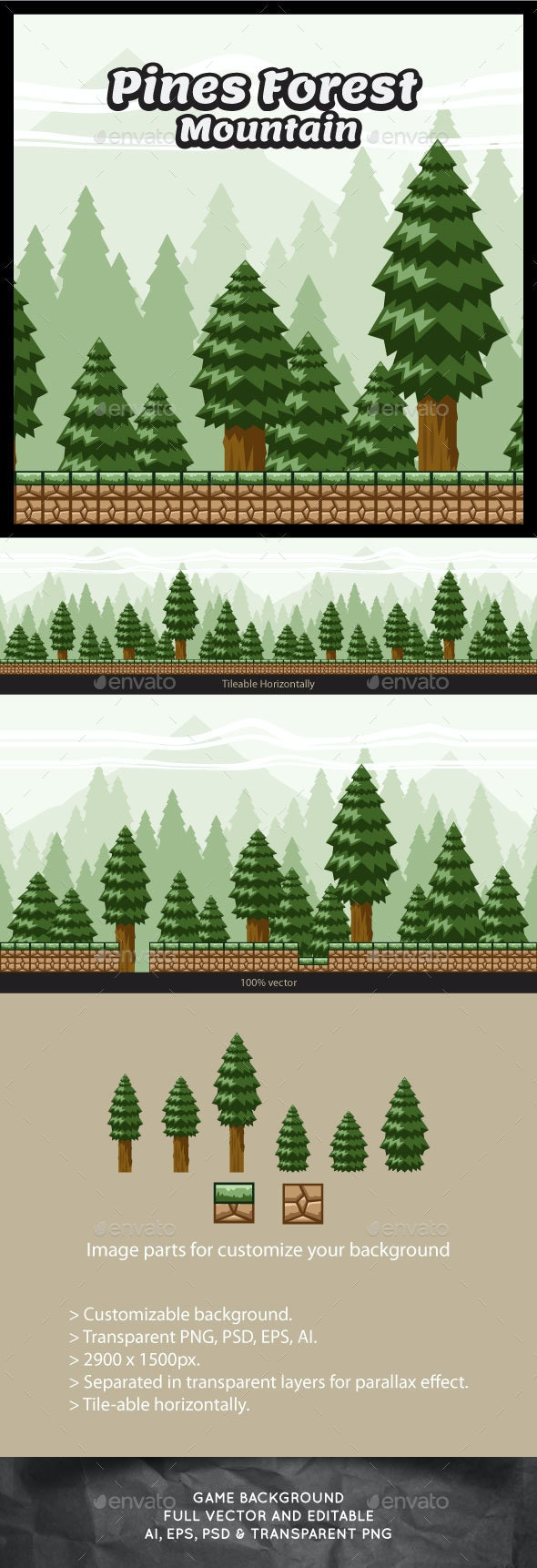 Pine Forest Mountain Game Background - Backgrounds Game Assets