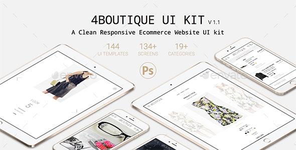 4Boutique - A Responsive Ecommerce Web UI KIT PSD - User Interfaces Web Elements