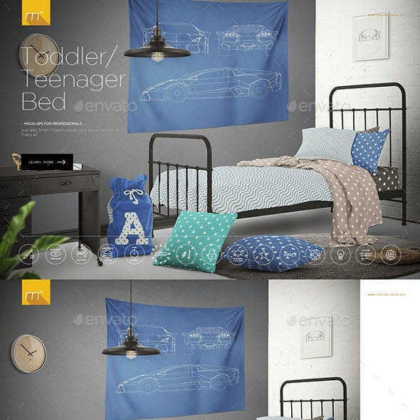 Toddler Bed or Teenager Bed Mock-up
