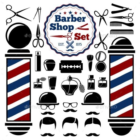 Vector Barber Shop Accessories Set