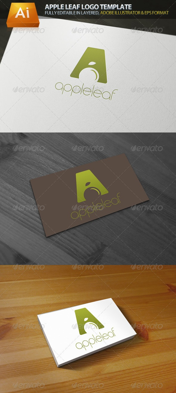 Apple Leaf Logo Template - Food Logo Templates