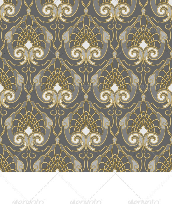 Seamless Gold pattern on a Silver background - Patterns Decorative