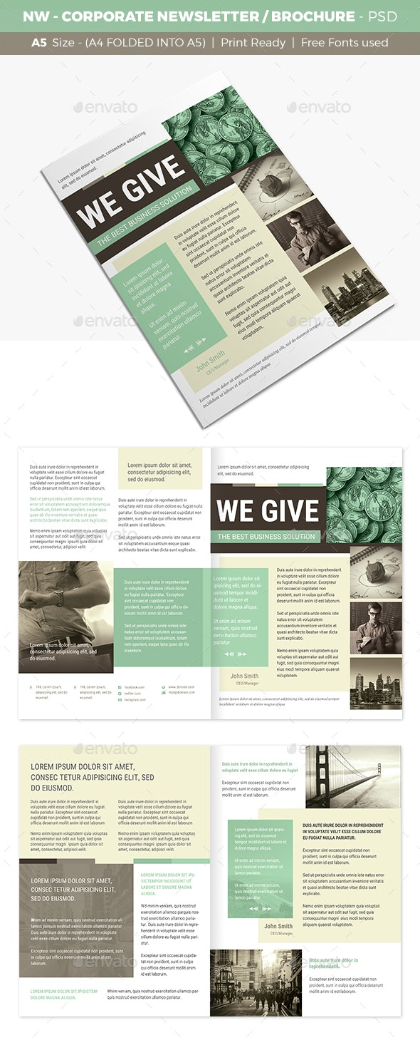 NW - Corporate Newsletter / Brochure  - Newsletters Print Templates