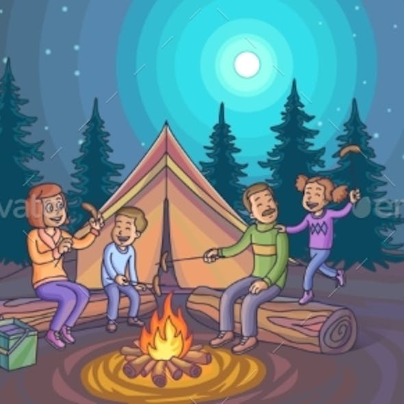 Camping Infographic Set with Backgrounds