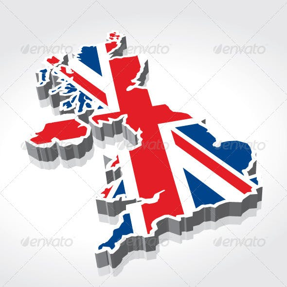 3D UK (British) Flag Maps