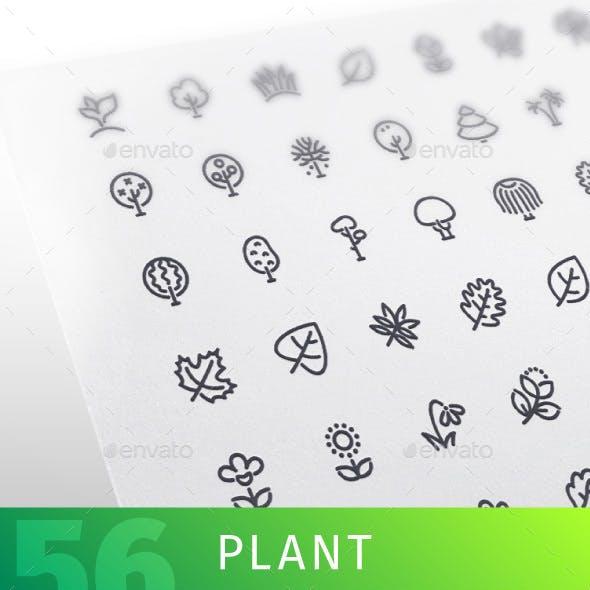 Plant Line Icons Set