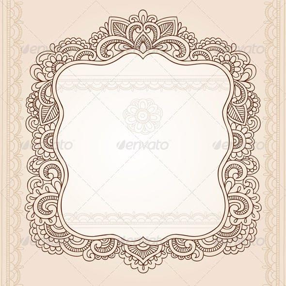 Vintage Henna Mehndi Doodle Frame Vector
