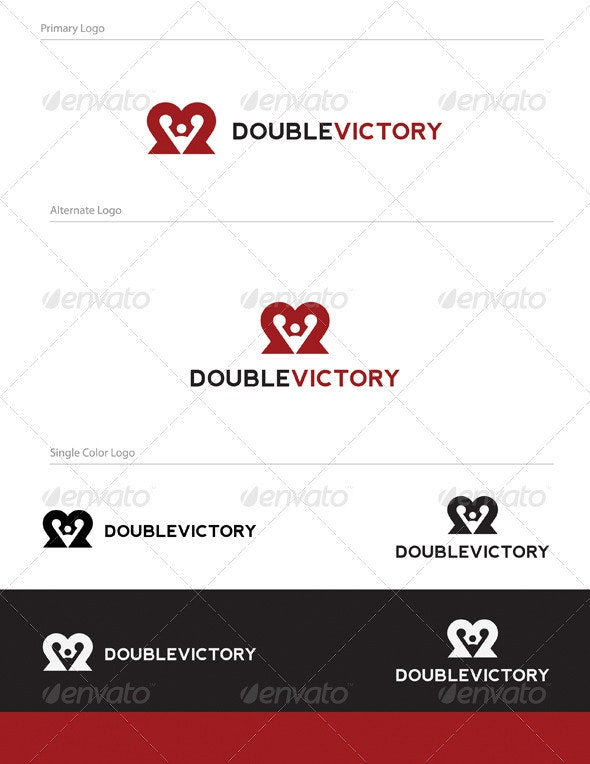 Double Victory Logo Design - ABS-018 - Vector Abstract