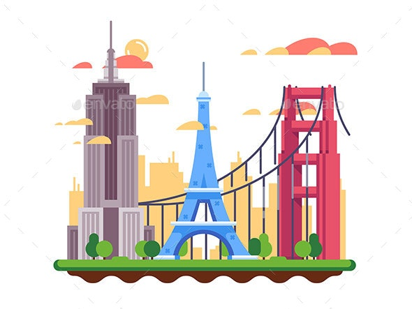 Famous Landmarks Flat Design - Objects Vectors
