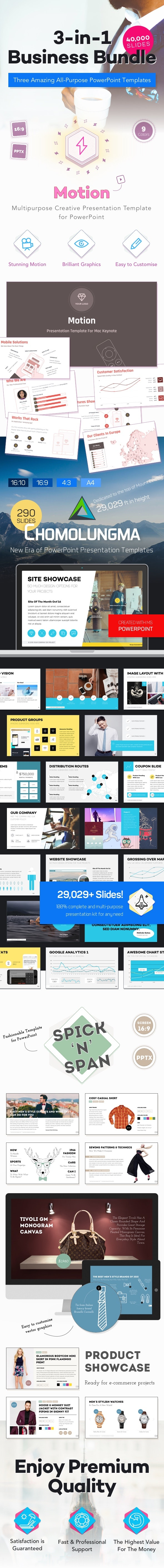 3-in-1 PowerPoint Presentation Kit for Business - Business PowerPoint Templates
