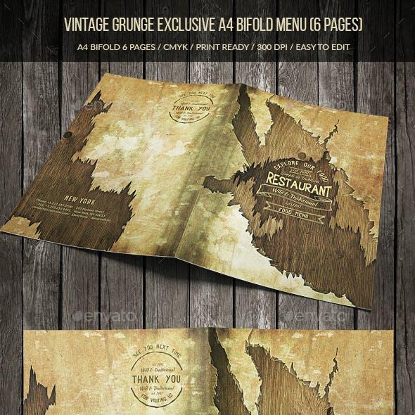 Vintage Grunge Exclusive A4 Bifold Menu (6 pgs)