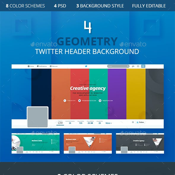 4 Geometry Twitter Header Background
