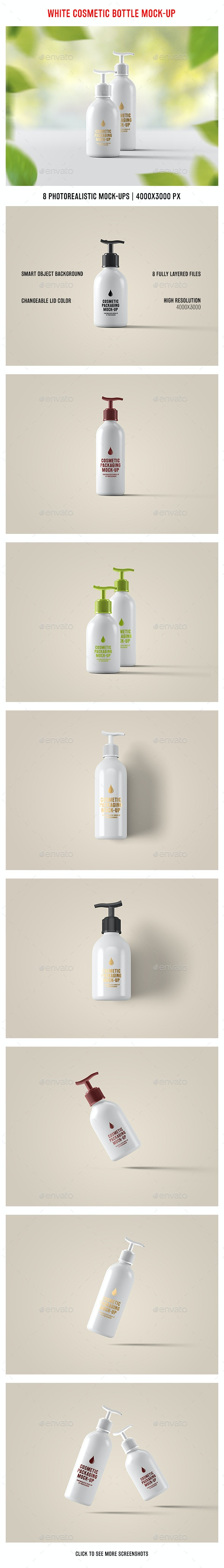 White Cosmetic Bottle Mock-Up - Beauty Packaging