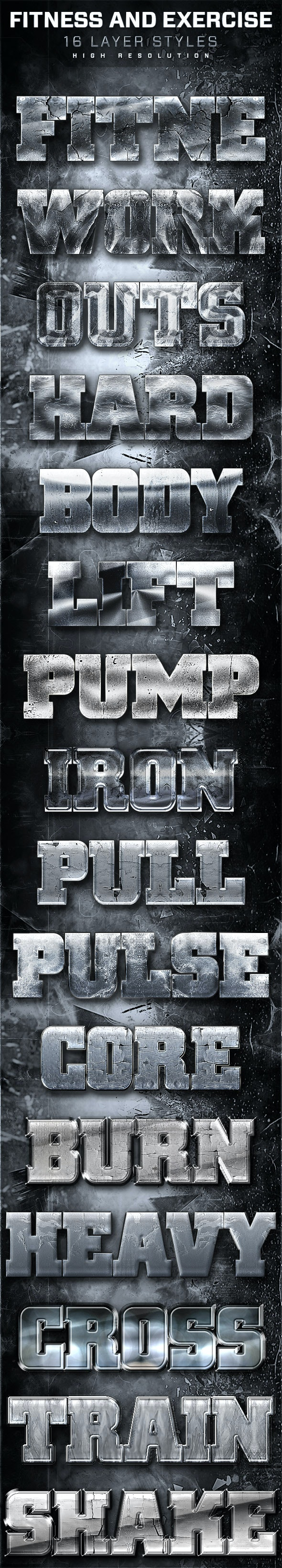 16 Fitness And Exercise Layer Styles 4 - Text Effects Styles