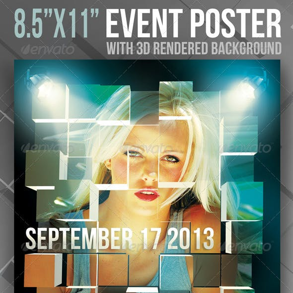 """8.5""""x11"""" Event Poster with 3D Rendered Background"""
