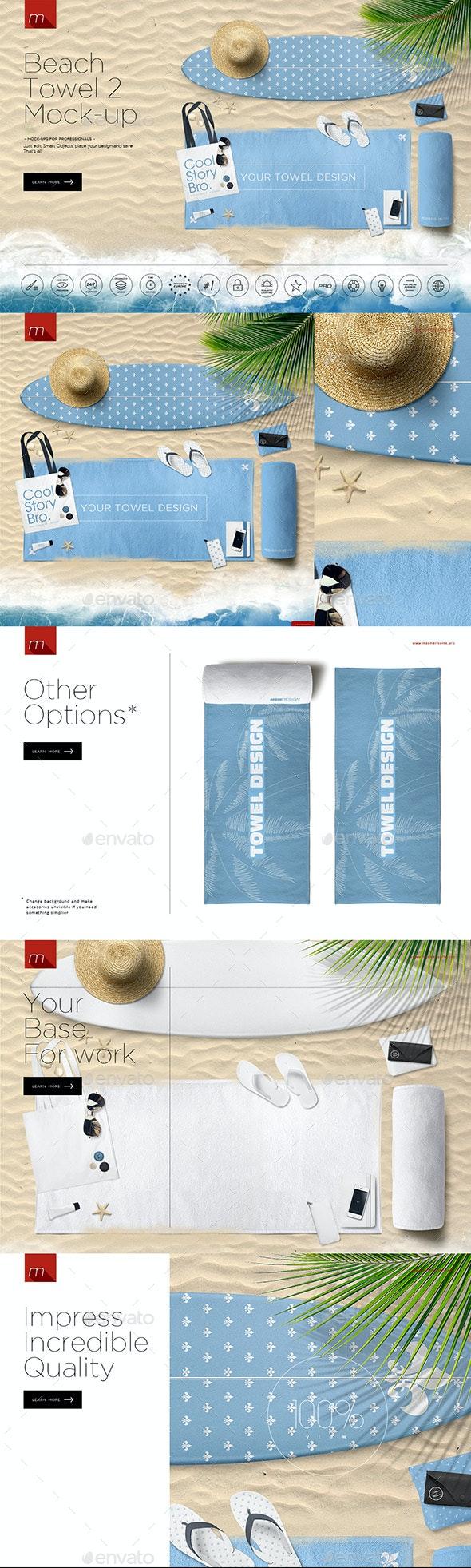 Beach Towel 2 Hero Image Mock-up - Product Mock-Ups Graphics