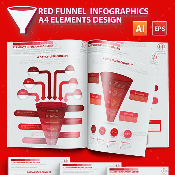 Red Filter Funnel Infographic Design