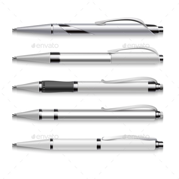 Blank And Metallic Vector Pens Template On White - Objects Vectors