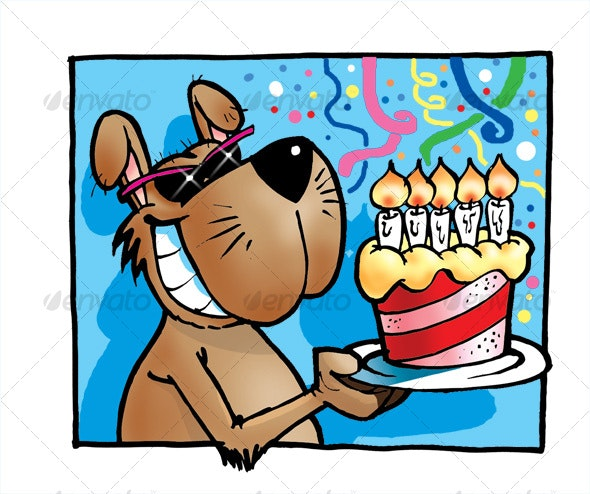 Dog with Cake - Characters Illustrations