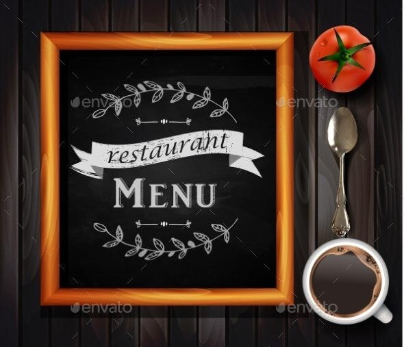 Menu on Chalkboard - Backgrounds Decorative