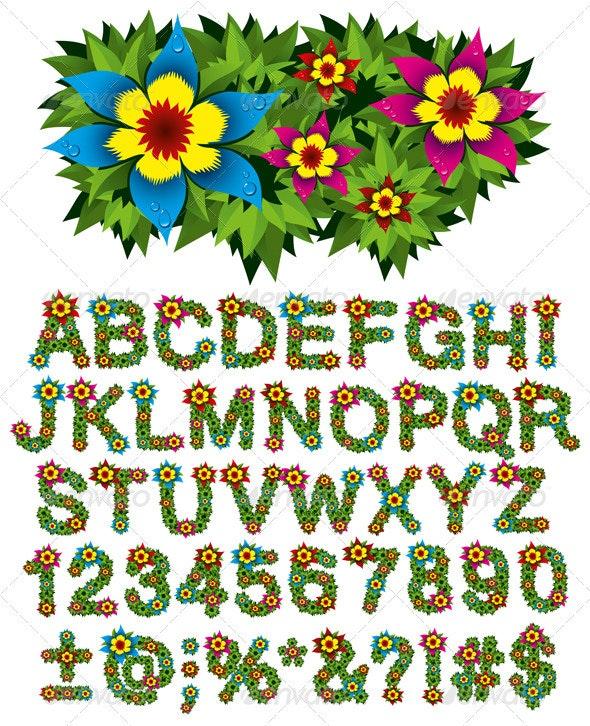 Flower and Bush Letters - Decorative Vectors