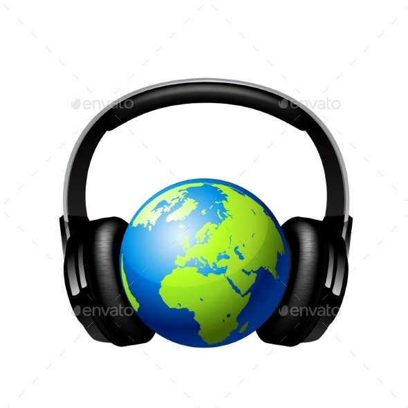 Globe with Headphones - Media Technology