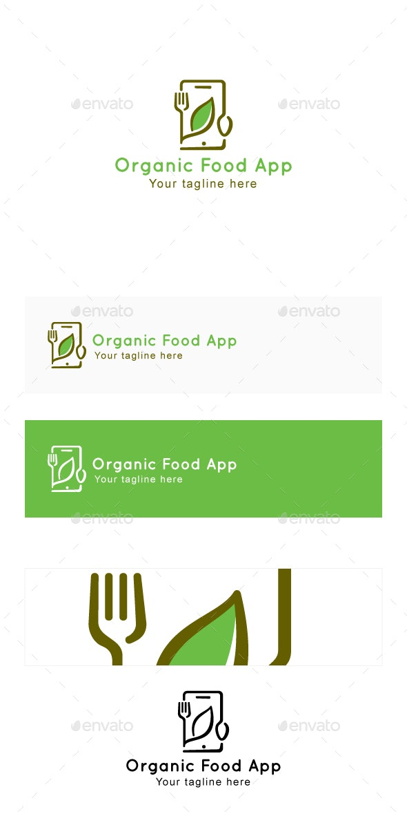 Organic Food App - Minimal Logo Template - Food Logo Templates