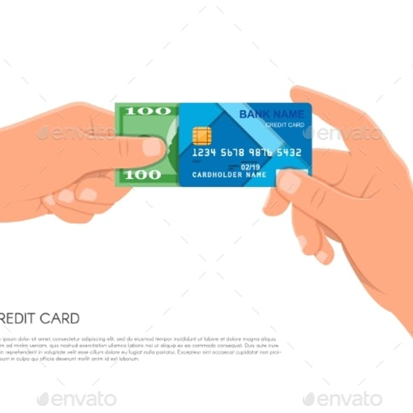 Human Hand Holding Bank Credit Card and Cash