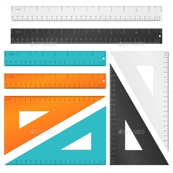 Rulers and Triangle with Inches and Centimeters