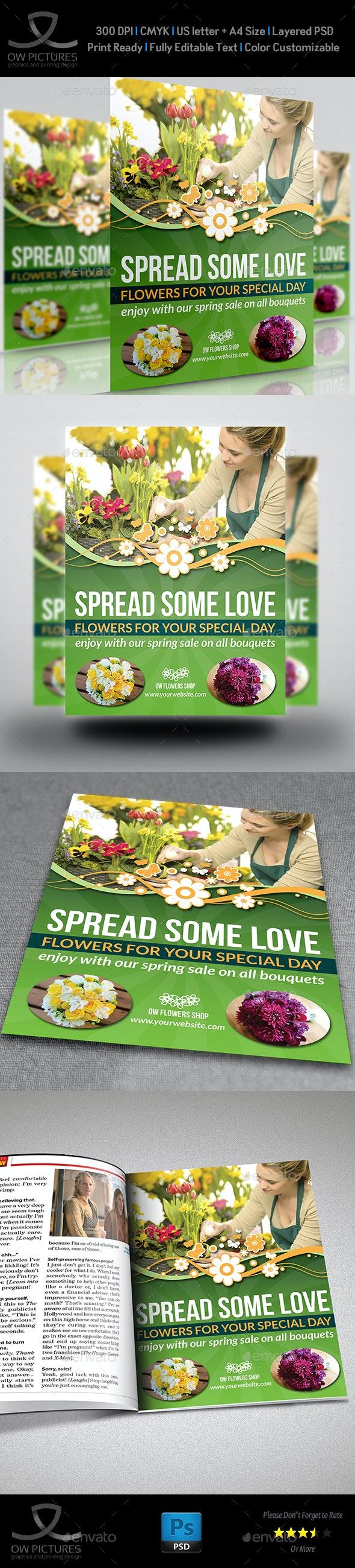 Flowers Shop Flyer Template - Commerce Flyers