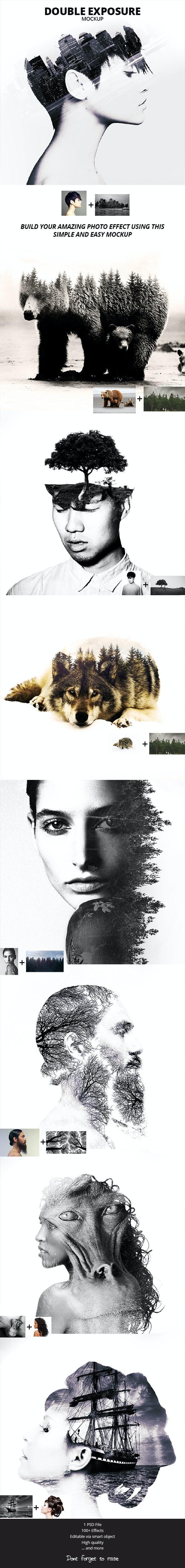 Double Exposure Photoshop Mockup - Photoshop Add-ons