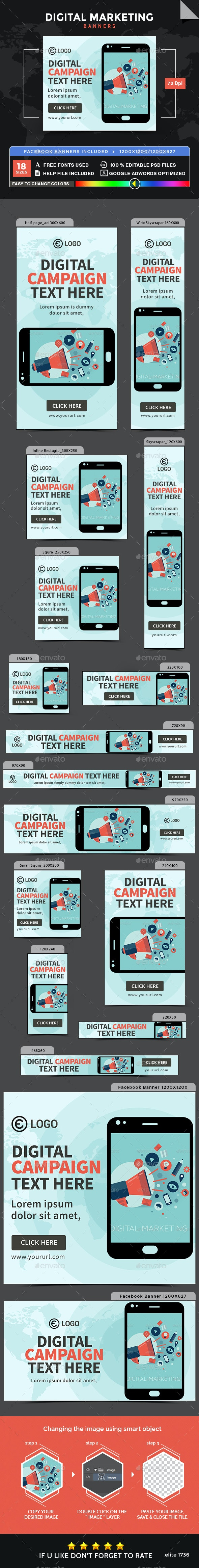 Digital Marketing Banners - Banners & Ads Web Elements