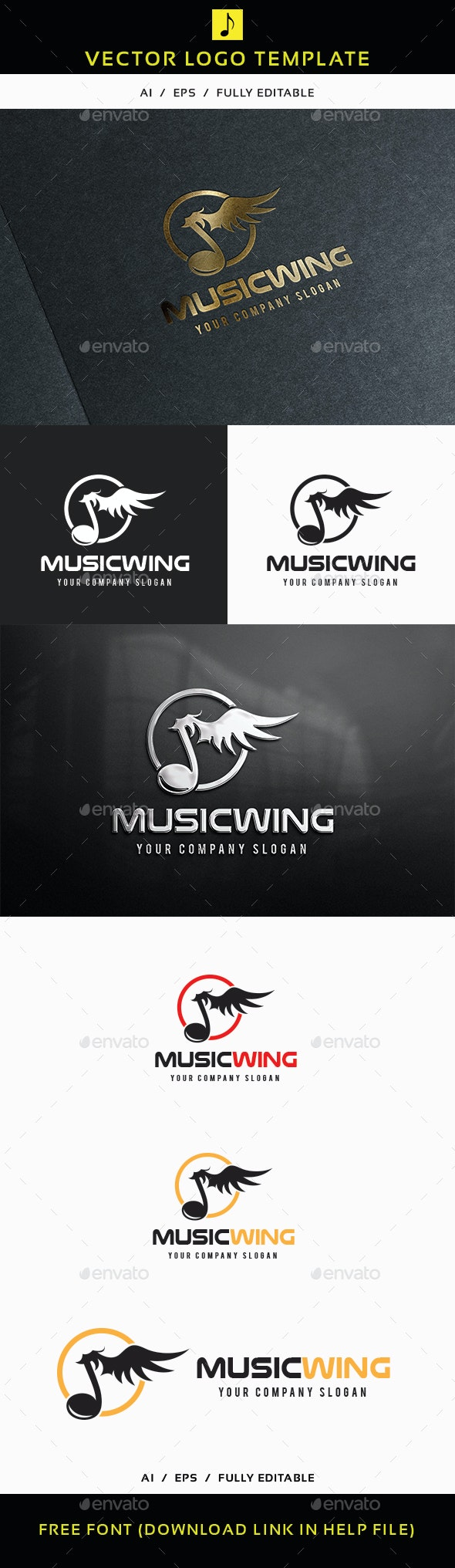 Music Wing Logo - Objects Logo Templates