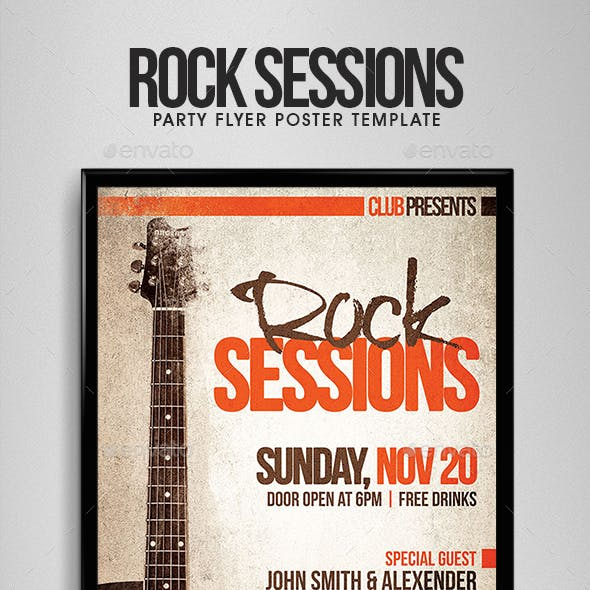 Rock Sessions - Party Flyer/Poster Template